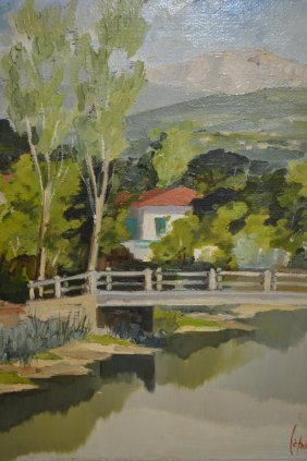 20th Century Oil On Canvas, River Landscape With