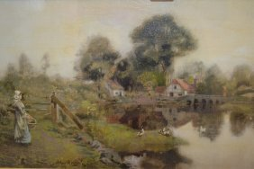 Oil On Canvas, Rural River Scene With A Girl And Ducks