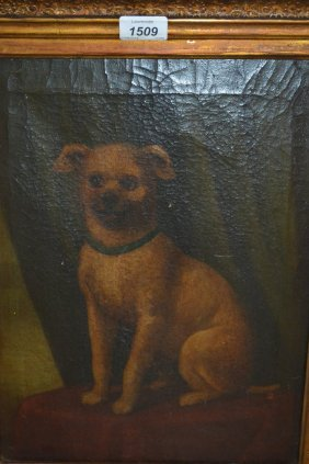 19th Century Oil On Canvas, Portrait Of A Seated Dog,