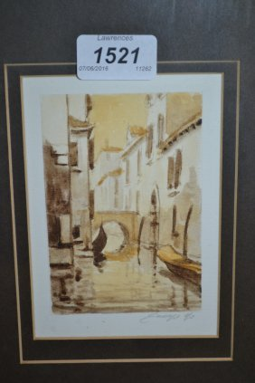 Four Various Modern Etchings, Venice Scenes And