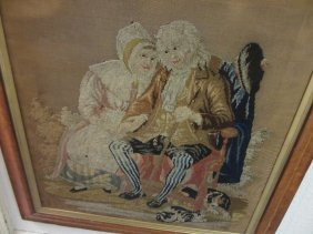 19th Century Needlework Picture Of A Seated Lady And