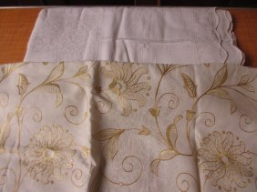 Large Arts And Crafts Style Embroidered Bedspread And A