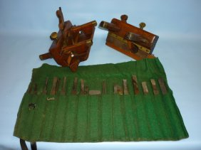 Antique Wooden Plough Plane With Bits Together With A