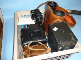 Cased Pair Of Binoculars And Various Cameras