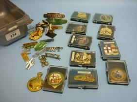 Quantity Of Railway Related Badges, Buttons Etc
