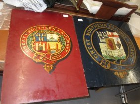 Two Railway Crests On Board, Great Northern Railway And