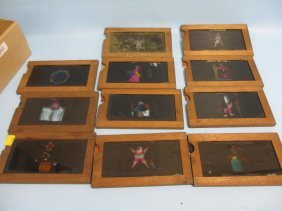 Group Of Eleven 19th Century Handpainted Magic Lantern