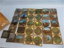 Quantity of 3.25in coloured magic lantern slides