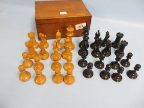 Staunton Pattern Boxwood And Ebony Chess Set In