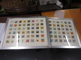 Two Silver Gilt Framed Sets Of G.b. Millenium Stamps