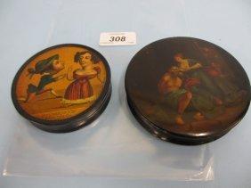 19th Century Circular Papier Mache Snuff Box Painted