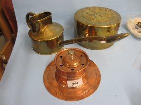 Copper Capstan Inkwell, Circular Brass Box Embossed