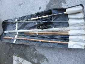 Two Bamboo Roach Poles Together With Two Carp Fishing