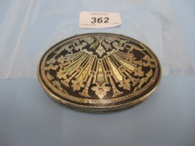 19th Century Continental Oval White Metal And Mother Of