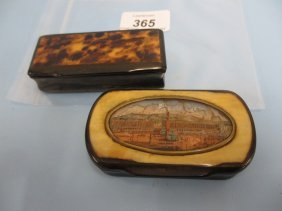 19th Century Horn Snuff Box With Oval Inserted Reverse