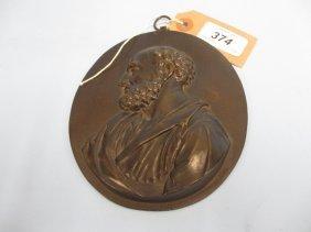 19th Century Oval Bronze Plaque Inscribed ' Petrus ',