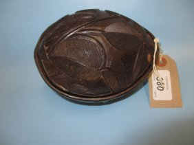 Native Carved Coconut Shell Box And Cover