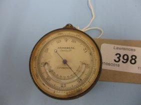 19th Century Gilt Brass Pocket Barometer Inscribed