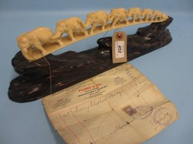 Early 20th Century Carved Ivory Bridge Of Elephants On