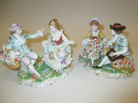 Pair Of Sitzendorf Porcelain Groups, Each Of A Boy And