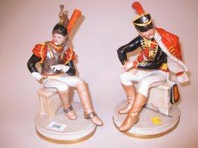Pair Of Capo Di Monte Figures Of Seated Napoleonic
