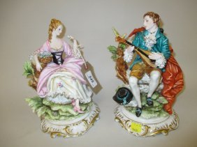 Pair Of Modern Milanese Porcelain Figures Of A Lady And