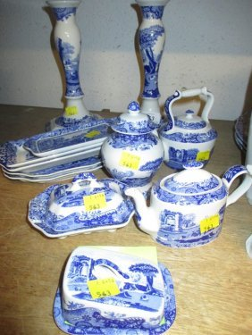 Pair Of Copeland Blue And White Italian Pattern