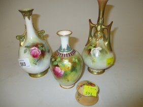 Small Royal Worcester Baluster Form Vase Hand Painted