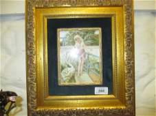 Minton Art Studio porcelain plaque painted with Leda