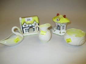 Three Items Of Belleek Porcelain Together With Two