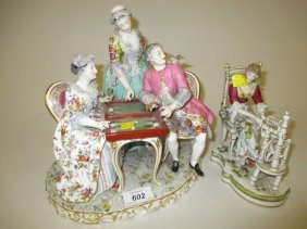 Continental Porcelain Figural Group Of Figures Playing