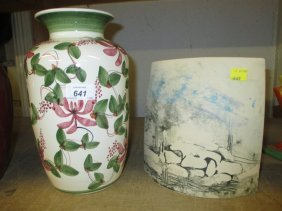 Large Rye Iden Pottery Vase Together With A Scottish