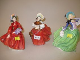 Group Of Three Royal Doulton Figures, ' Lilac Time ', '