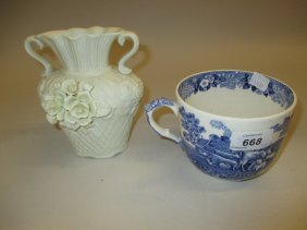 Continental Bisque Porcelain Two Handled Floral