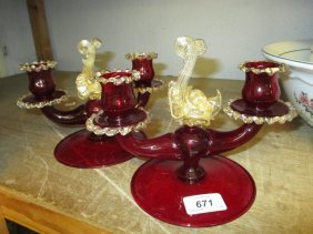 Pair Of Salviati Murano Red And Gilt Clear Glass Two