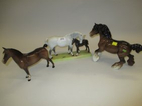 Beswick Horse And Foal Group Together With Two Other