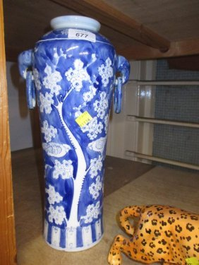 Chinese Blue And White Bird And Prunus Blossom