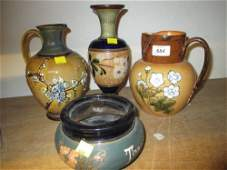 Royal Doulton stoneware jug vase with relief decoration