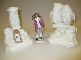 Two 19th Century Parian Ware Match Holders, Each In The