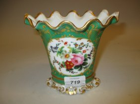 Paris Porcelain Vase Painted With A Bouquet Of Flowers