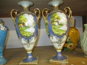Pair Of Large Noritake Two Handled Pedestal Vases