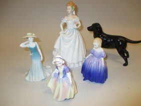 Three Various Royal Doulton Figures Of Ladies, Similar