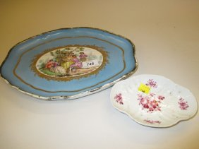 19th Century Oval French Porcelain Plate Hand Painted
