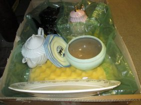 Three Various Teapots, Meat Platter, Side Plates And A