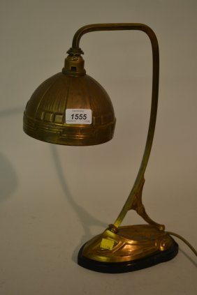 French Art Nouveau Stylised Gilt Brass Table Lamp On