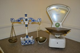 Pair Of White Painted Balance Scales By Avery Together
