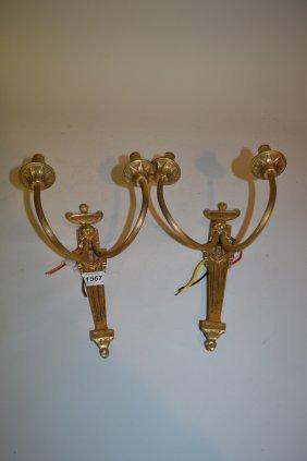 Pair Of Gilt Brass Adam Style Twin Branch Wall Lights