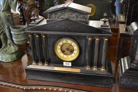 Large 19th Century Black Slate Mantel Clock Having