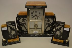 French Art Deco Black Slate And Marble Three Piece