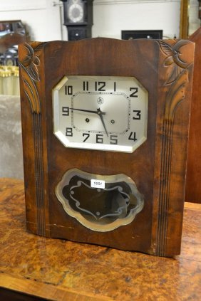 Mahogany Cased Wall Clock Having Floral Carved
